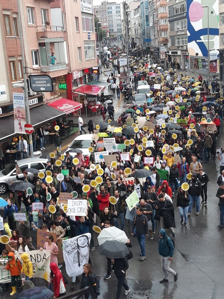 Climate change activists marching in Istanbul on Sept. 20.