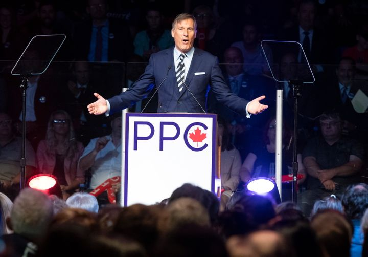 Maxime Bernier, leader of the People's Party of Canada, speaks at the launch of his campaign on Aug. 25, 2019 in Sainte-Marie Que.