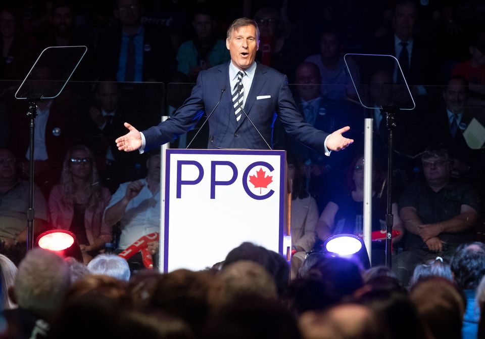 Maxime Bernier, leader of the People's Party of Canada, speaks at the launch of his campaign on Aug....