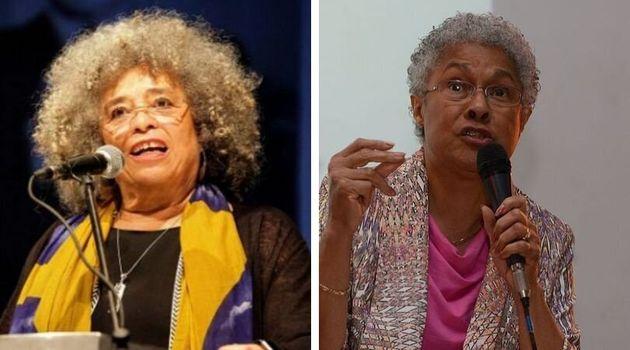 Filósofas, historiadoras e ativistas feministas Angela Davis (à esq) e Patricia Hill Collins...