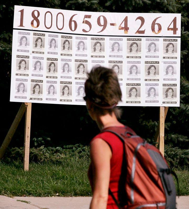 Des affiches de la fillette disparue étaient installées un peu partout à Trois-Rivières, en 2007.