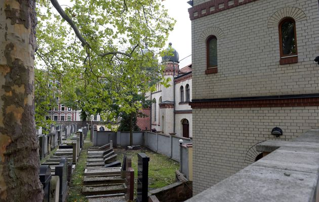 Exterior view of a Jewish cemetery and synagogue in Halle, Germany, Wednesday, Oct. 9, 2019. One or more...