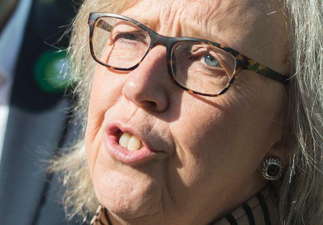 La chef du Parti vert, Elizabeth May, s'adresse aux journalistes lors d'une étape...