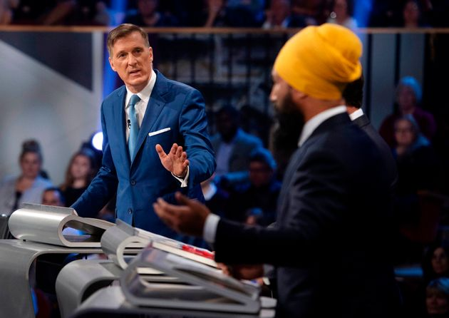 People's Party of Canada leader Maxime Bernier responds to Singh during the federal leaders' debate in...