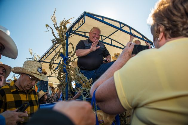 Ontario Premier Doug Ford welcomes visitors to the International Plowing Match in Verner, Ont. on Sept....