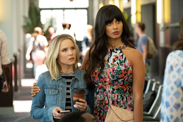 "Kristen Bell as Eleanor, Jameela Jamil as Tahani in an episode of ""The Good"