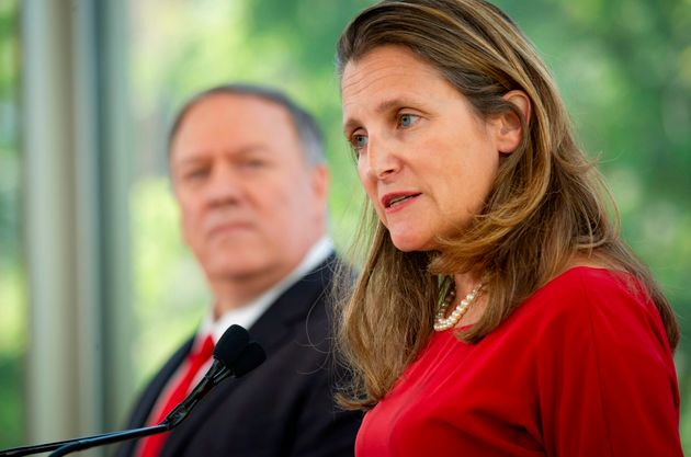 Foreign Minister Chrystia Freeland speak during a joint press conference on Aug. 22, 2019 in