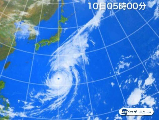 10日5時の衛星写真(赤外画像)