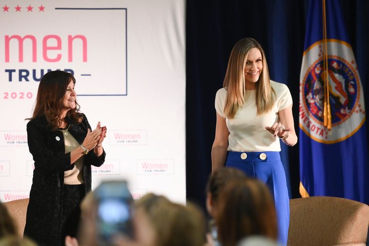 Second Lady Karen Pence, left, and Lara Trump, President Donald's Trump's daughter-in-law, take the stage Wednesday at the st