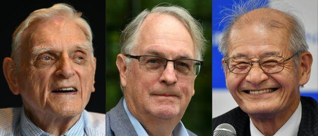 왼쪽 부터 미국 존 굿이너프(97) 오스틴 텍사스대 교수, 영국 스탠리 위팅엄(77) 빙엄턴 뉴욕주립대 교수, 일본 요시노 아키라(71) 메이조대 명예
