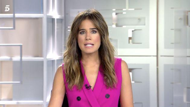 Isabel Jiménez, en el informativo de las 15:00 de Telecinco del 3 de octubre de