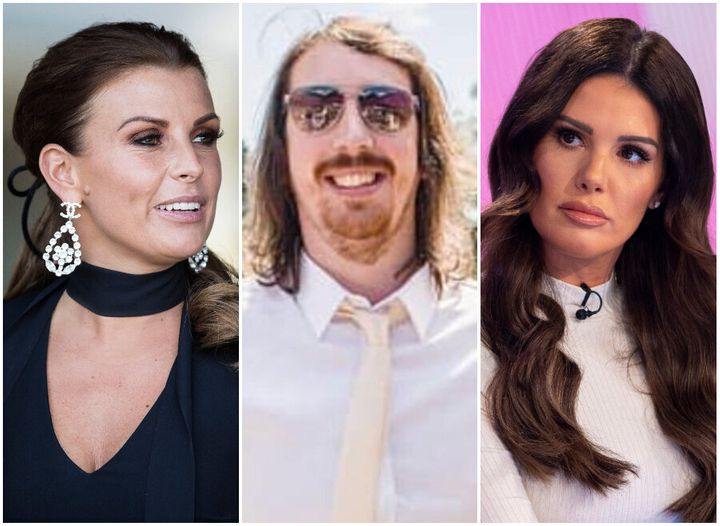 Man in the middle? <i>(l-r)</i> Coleen Rooney, Dave Burrows and Rebekah Vardy