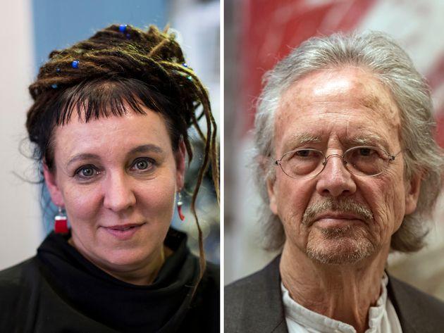 Los escritores Olga Tokarczuk y Peter
