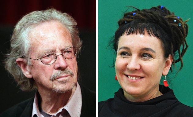 L'écrivain Peter Handke (à gauche) et l'auteure polonaise Olga Tokarczuk (à droite)...