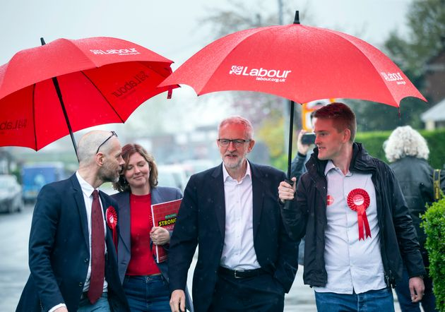 Labour leader Jeremy Corbyn canvassing on Nixon Drive, Winsford while on the local election campaign