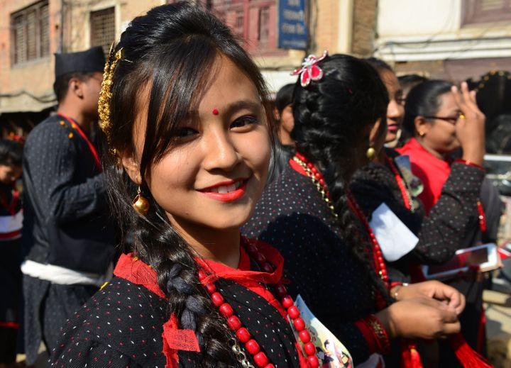Members of Nepal's Newar community take part in a procession to mark Jyapu Day celebrations in Kathmandu on Dec. 13, 2016. Jy
