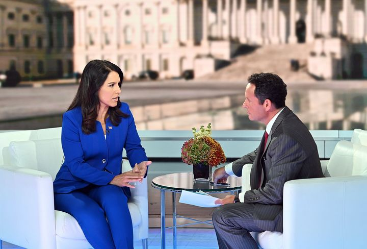 "Democratic Presidential Candidate Tulsi Gabbard talks to host Brian Kilmeade at ""FOX & Friends"" at Fox News Channel Studi"