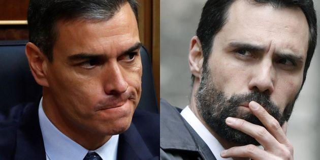 Pedro Sánchez y Roger Torrent, en sendas imágenes de
