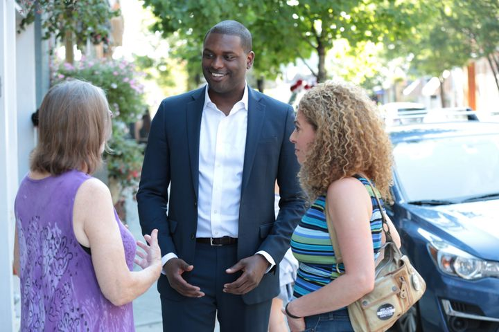 Mondaire Jones, an attorney seeking the Democratic nomination in New York's 17th Congressional District, greets voters on the