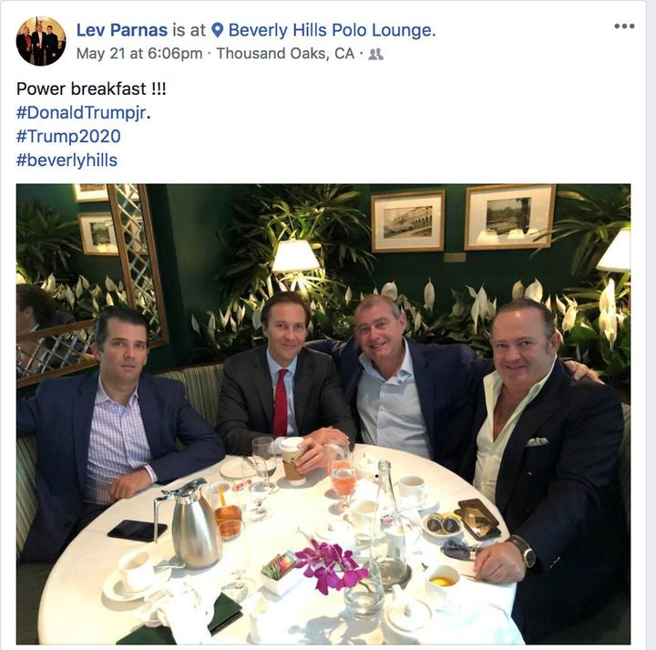 Donald Trump Jr., left, Trump campaign fundraiser Tommy Hicks Jr., Ukrainian-American businessman Lev Parnas and Belarus-born