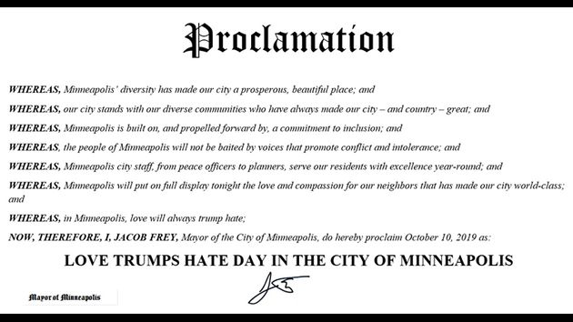 The proclamation of Love Trumps Hate Day in