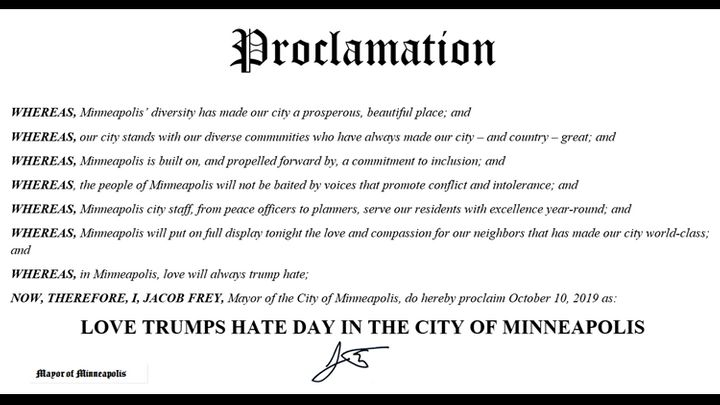 The proclamation of Love Trumps Hate Day in Minneapolis.