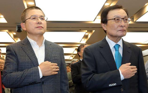 황교안 자유한국당 대표(왼쪽), 이해찬 더불어민주당