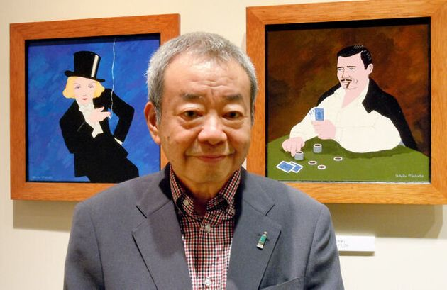 個展の会場で自作と和田誠さん=2010年9月