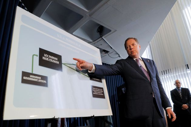U.S. Attorney for the Southern District Geoffrey S. Berman speaks at a news conference on the indictment...