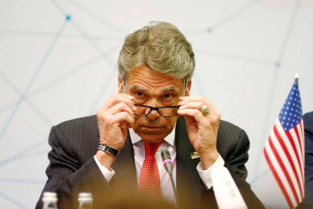 U.S. Secretary of Energy Rick Perry reacts during a news conference after the Partnership for Transatlantic...