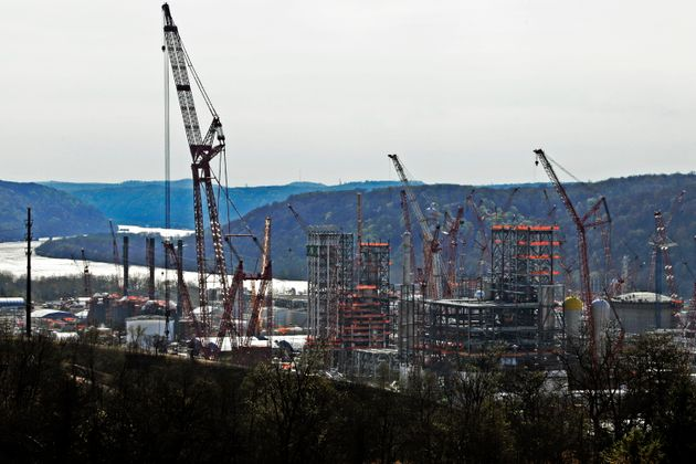 FILE - This April 18, 2019 file photo shows part of a petrochemical plant being built on the banks of...