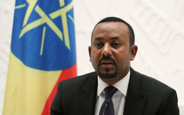 Ethiopia's Prime Minister Abiy Ahmed speaks at a news conference at his office in Addis Ababa, Ethiopia...