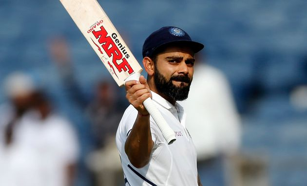 Virat Kohli after India declared their innings during the second day of the second cricket test match...