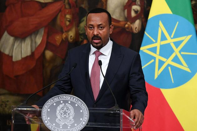 Ethiopian Prime Minister Abiy Ahmed is seen here at a news conference at Chigi Palace in Rome in January