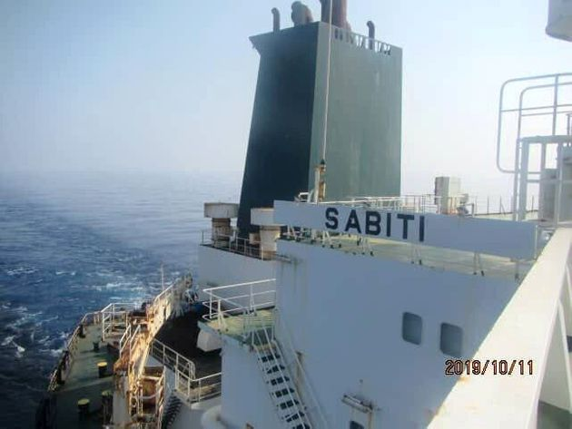 An undated picture shows the Iranian-owned Sabiti oil tanker sailing in Red Sea. National Iranian Oil...