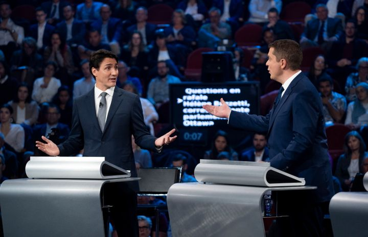 Liberal leader Justin Trudeau and Conservative leader Andrew Scheer take part in the leaders' debate in Gatineau, Que. on Oct. 10, 2019.