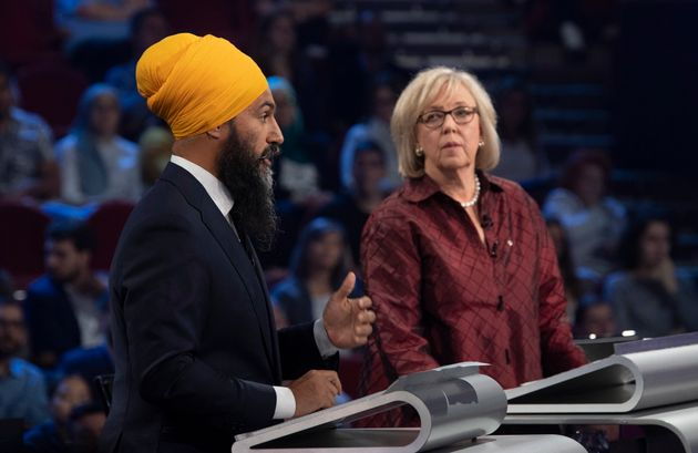 NDP Leader Jagmeet Singh and Green Party leader Elizabeth May take part in the leaders' debate in Gatineau,...