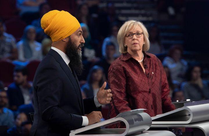 NDP Leader Jagmeet Singh and Green Party leader Elizabeth May take part in the leaders' debate in Gatineau, Que. on Oct. 10, 2019.