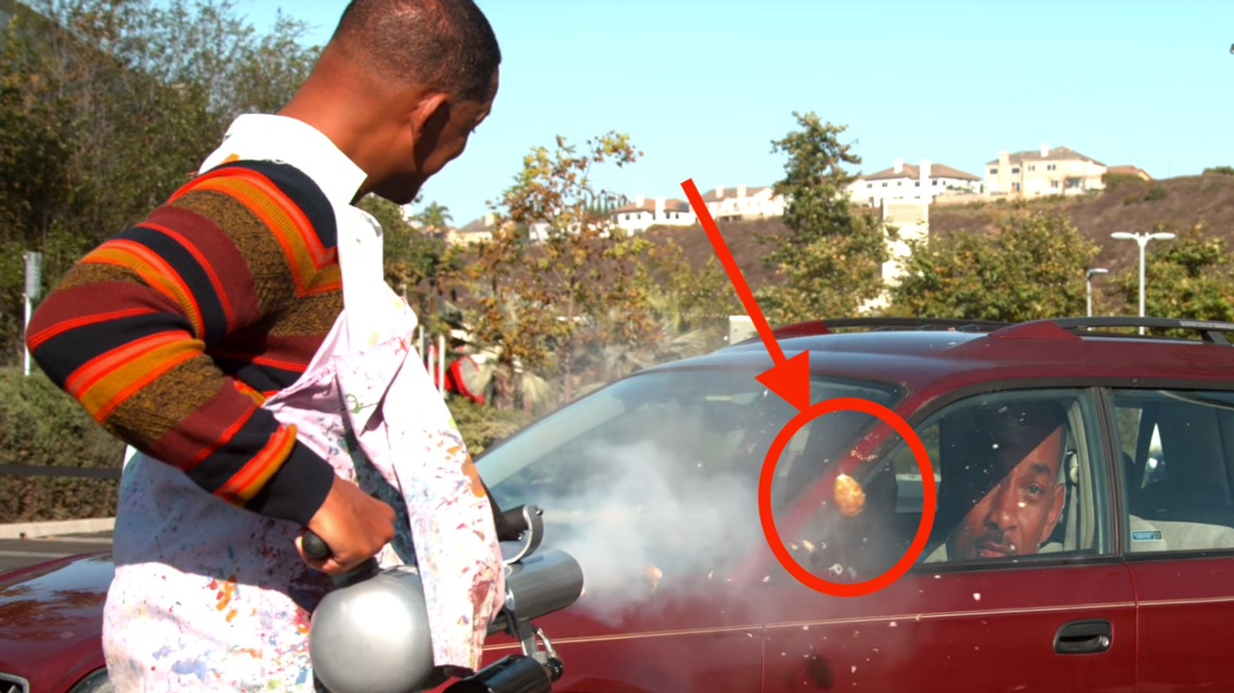 Westlake Legal Group 5da070b120000058074ffffa Will Smith Tries Trashing Car With Potato Cannon, Fails In Spectacular Slow Motion