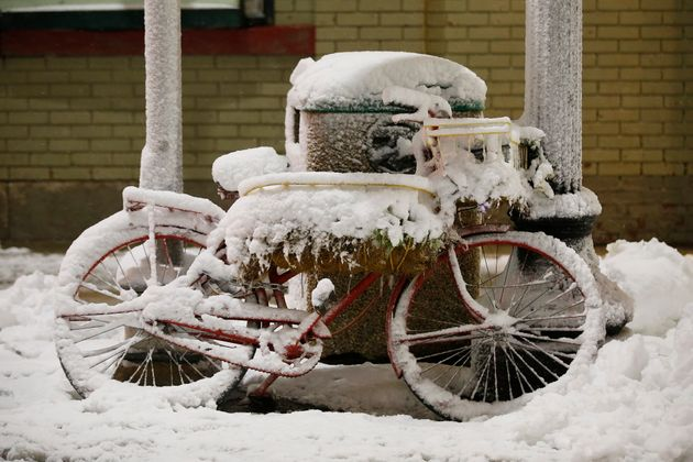 A bicycle is covered in snow on Friday morning in Winnipeg. Police in the city say numerous traffic...