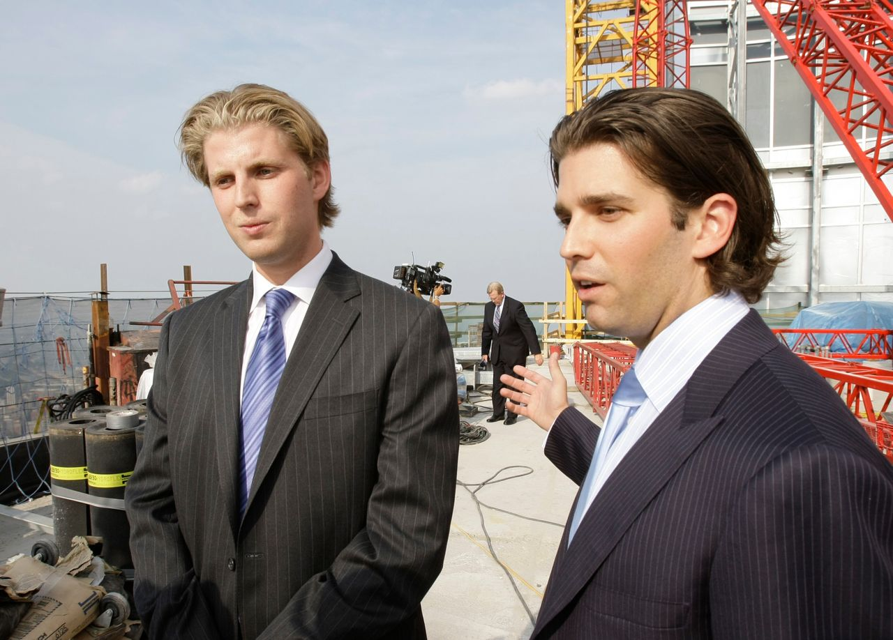 Eric Trump (left) graduated from Georgetown University in 2006. <br> Donald Trump Jr. (right) graduated from the Wharton School of the University of Pennsylvania in 2000. Both joined the Trump Organization shortly after college.
