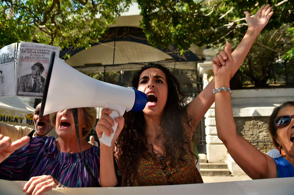 Algerian women take part in an anti-government protest in the capital Algiers on October 11, 2019. (Photo...