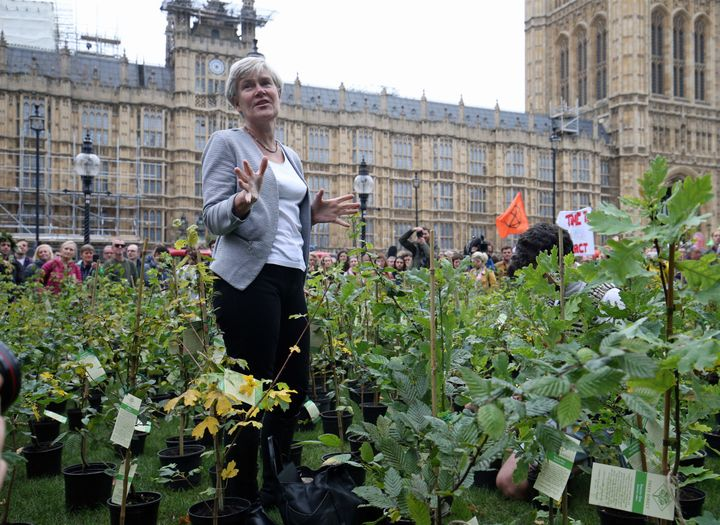 <strong>Labour MP Kate Green among the saplings outside parliament on Thursday&nbsp;</strong>