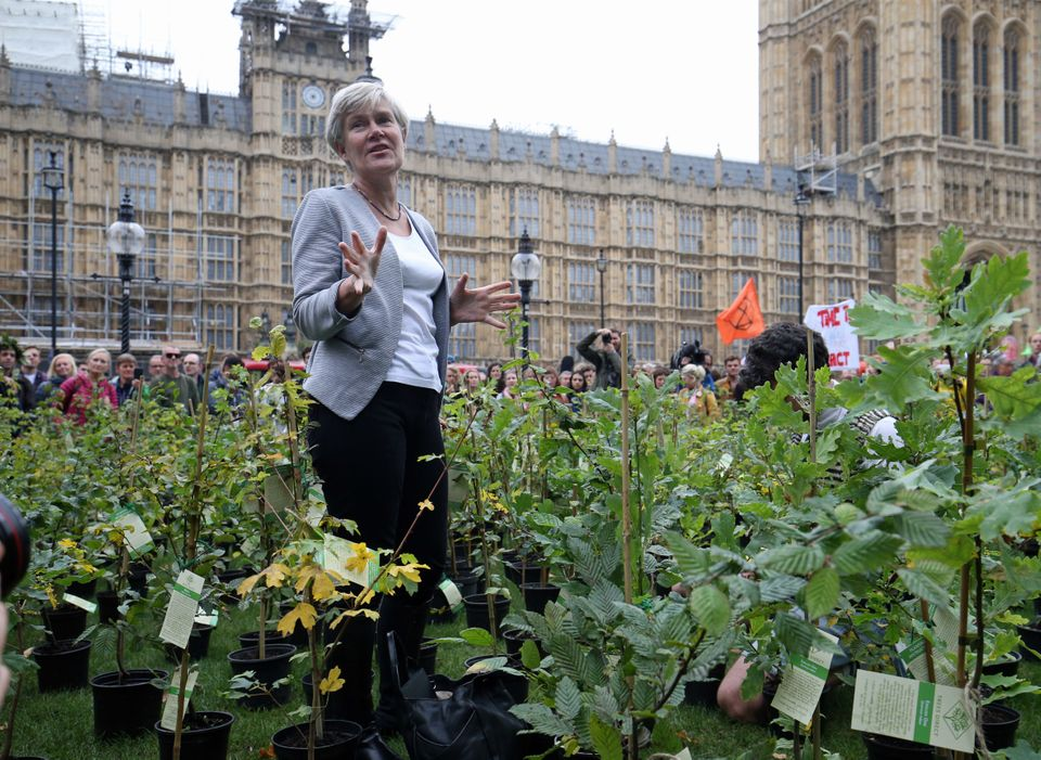 Labour MP Kate Green among the saplings outside parliament on