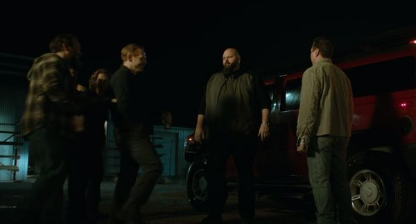 """In """"Better Call Saul,"""" Mike scared away a large bodyguard, played by David Mattey, from taking a job offer to protectDa"""