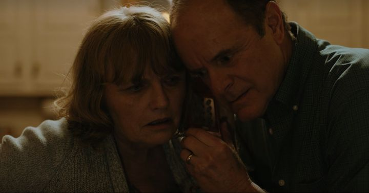 "Mr. and Mrs. Pinkman (Tess Harper and Michael Bofshever) receive a call from Jesse in ""El Camino."""