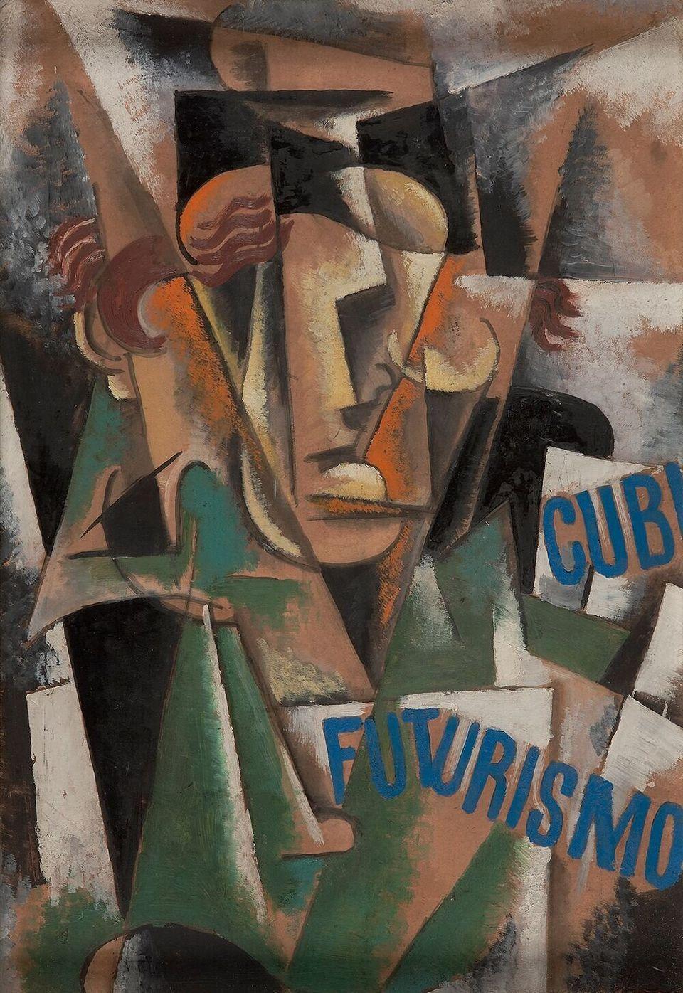 Λιουμπόβ Ποπόβα, Μελέτη για πορτρέτο, 1915, Λάδι σε χαρτόνι, 59.5 × 41.6, Αμφίπλευρο