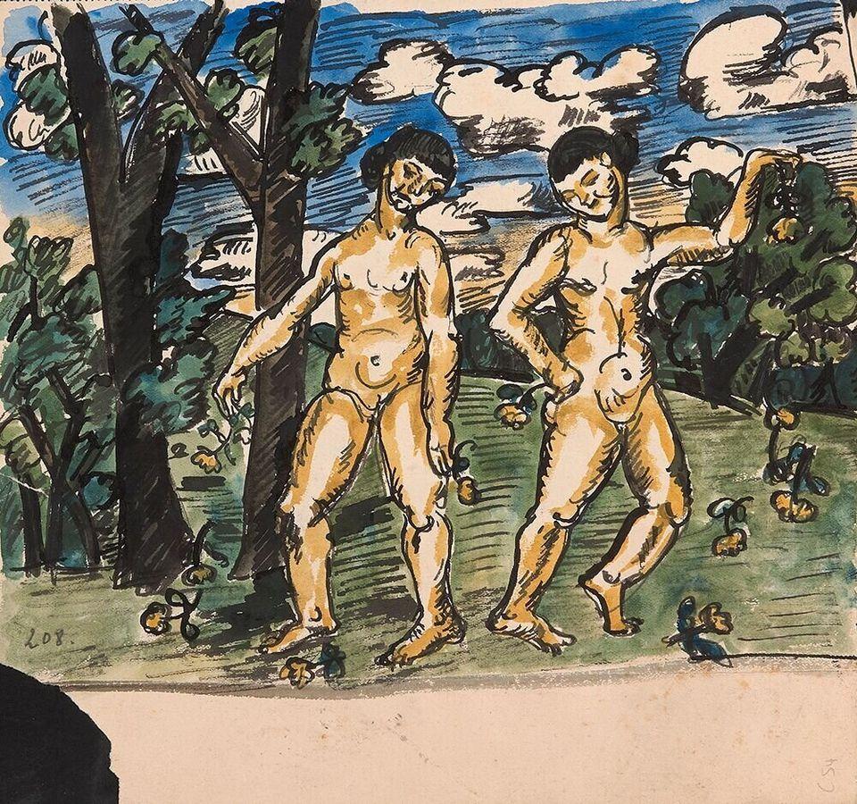 Λιουμπόβ Ποπόβα, Χωρίς Τίτλο, Αρχές δεκ. 1910, Ακουαρελα και μελάνι, 23.4 × 24.9. Αμφίπλευρο