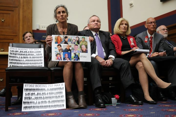 The mother of a victim of one of two Boeing jets that crashed attends a Capitol Hill hearing about the disaster.