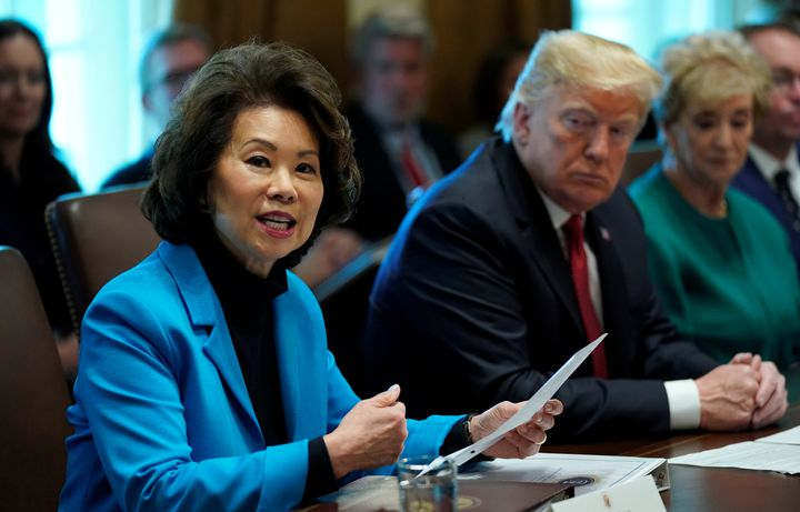 Transportation Secretary Elaine Chao, seen in October 2018, has yet to be called to testify before DeFazio's committee.